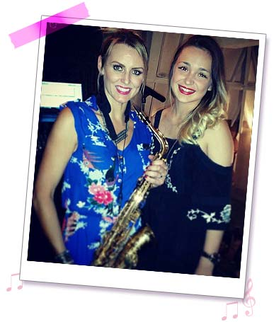 Sister Sax Kay with Lauren Platt, star of x-factor