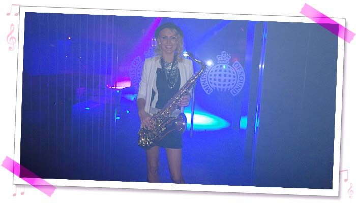 Sister Sax Kay performing at the Ministry of Sound