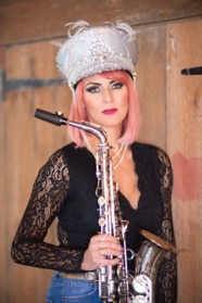 Kay with silver hat and saxophone